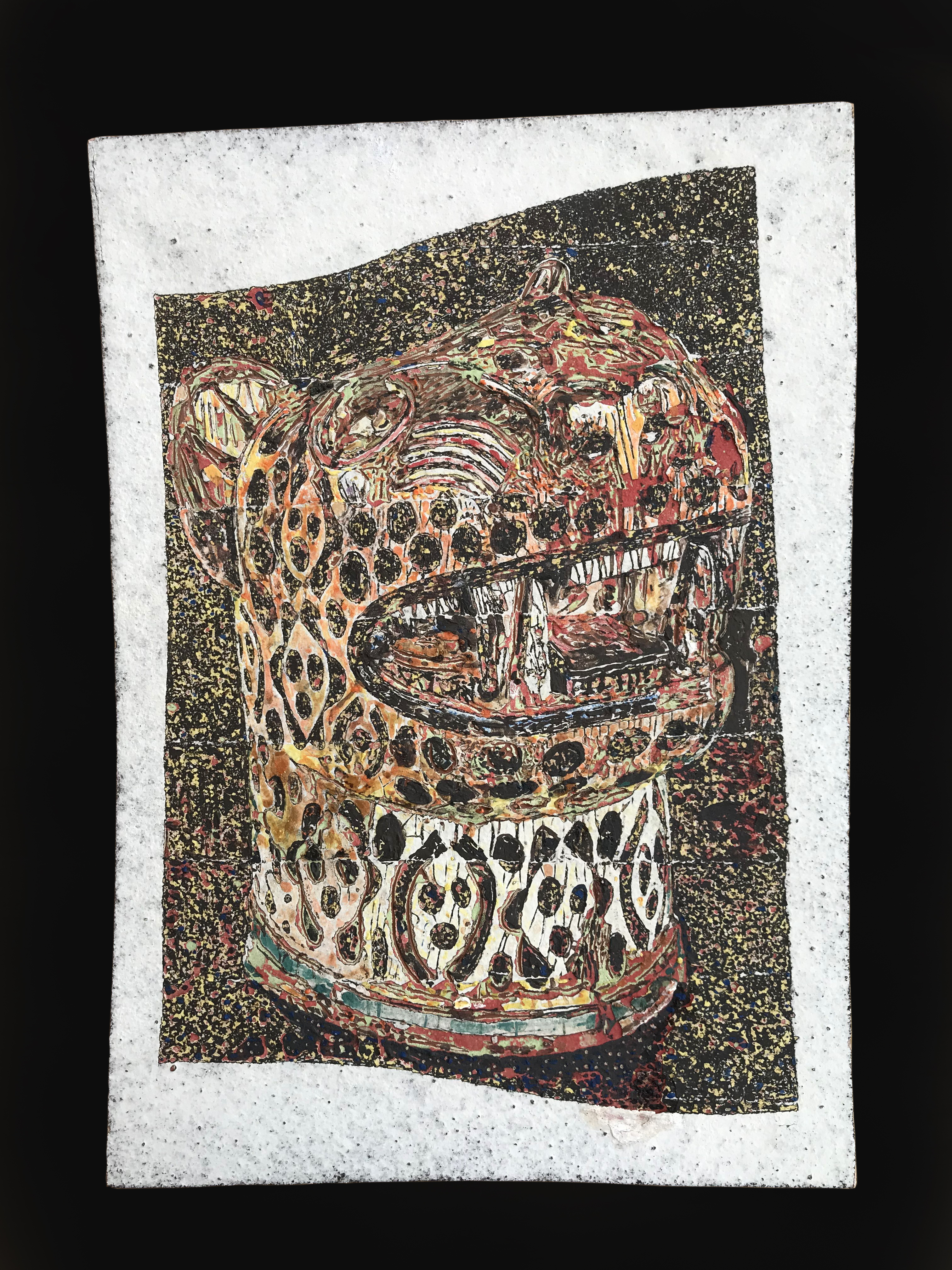 Pulque Pachilo /  layers of clay & enamels scraped off  / 29 x 20 cm